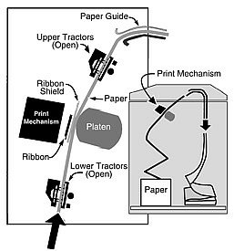 T6215/T6218 Line Matrix printer paper path diagram